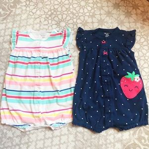 Set of 2 cute Carter's rompers, 12 mo
